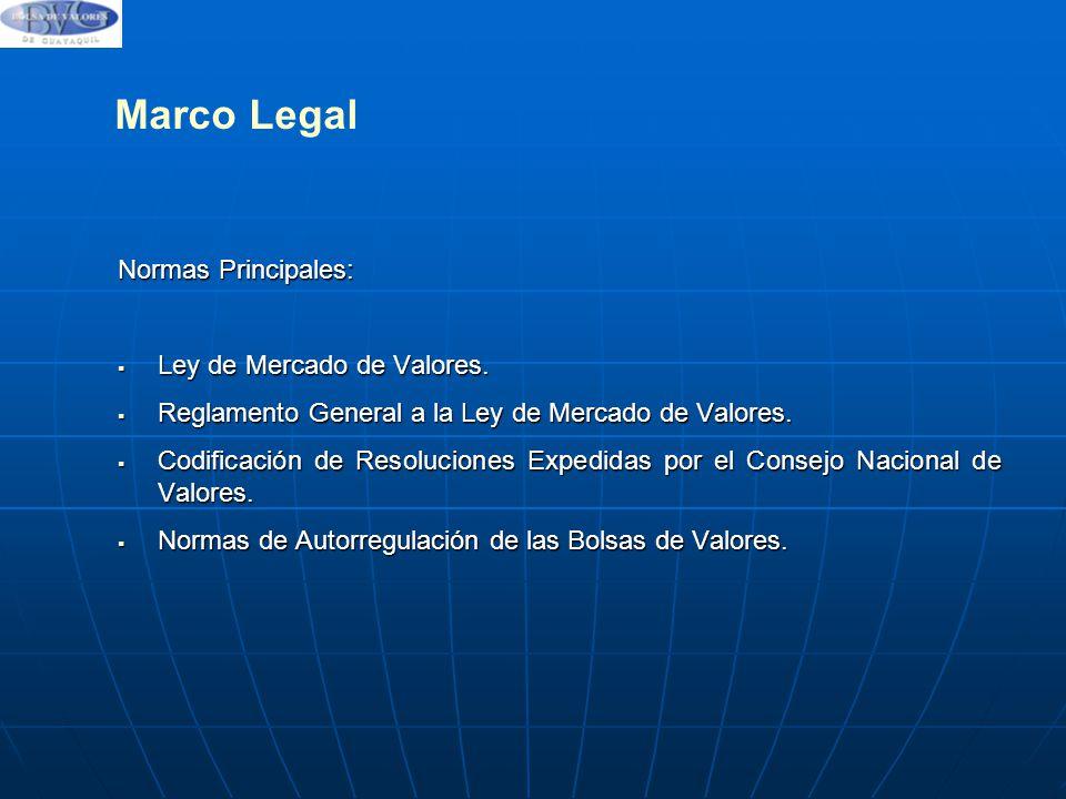 Marco Legal Normas Principales: Ley de Mercado de Valores.