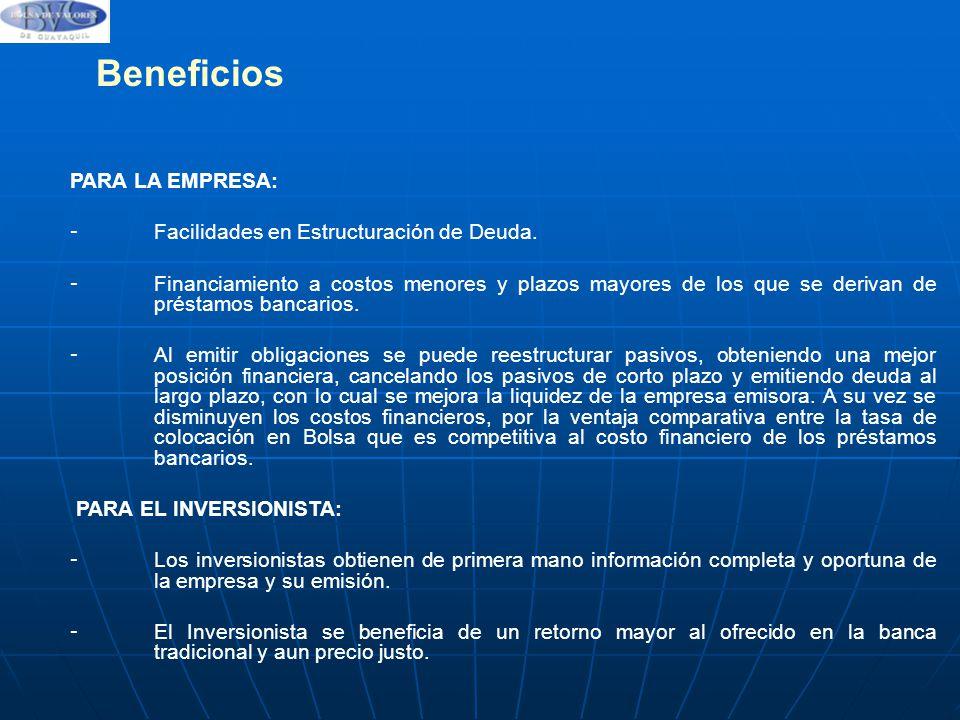 Beneficios PARA LA EMPRESA: Facilidades en Estructuración de Deuda.