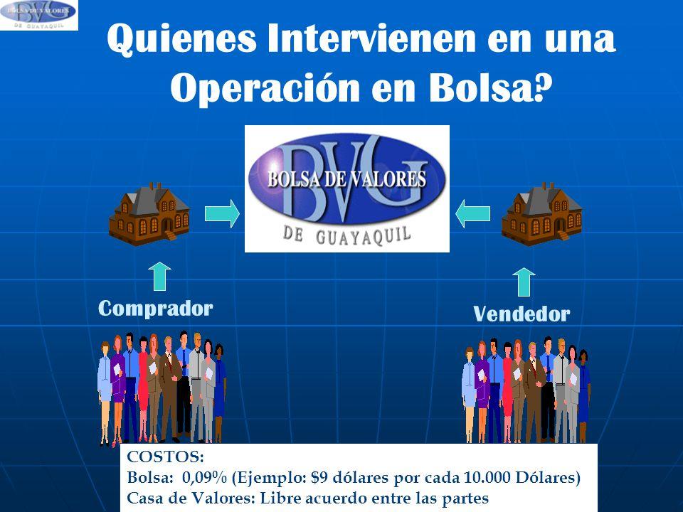 Quienes Intervienen en una Operación en Bolsa
