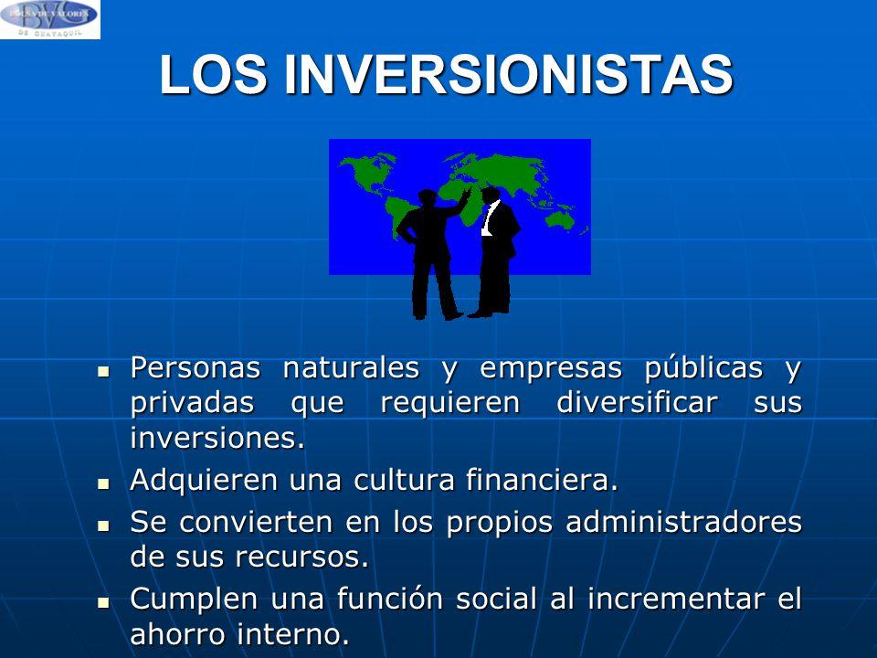LOS INVERSIONISTAS Personas naturales y empresas públicas y privadas que requieren diversificar sus inversiones.