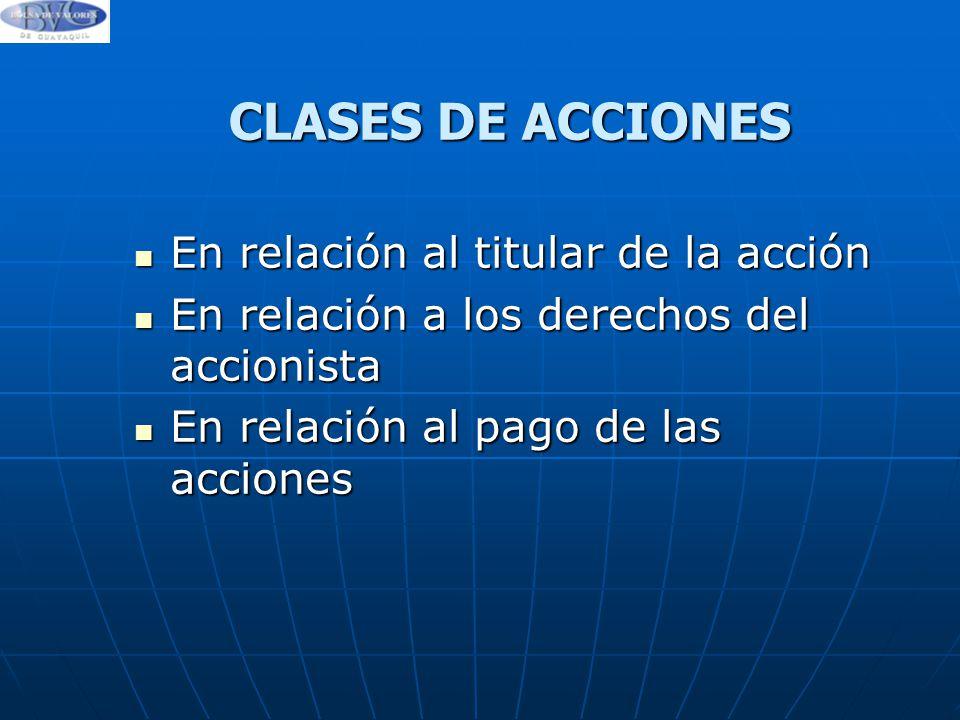 CLASES DE ACCIONES En relación al titular de la acción