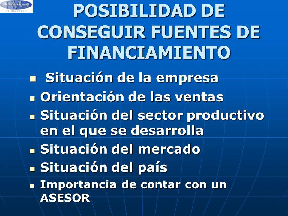 POSIBILIDAD DE CONSEGUIR FUENTES DE FINANCIAMIENTO