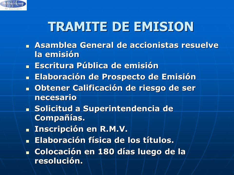 TRAMITE DE EMISION Asamblea General de accionistas resuelve la emisión