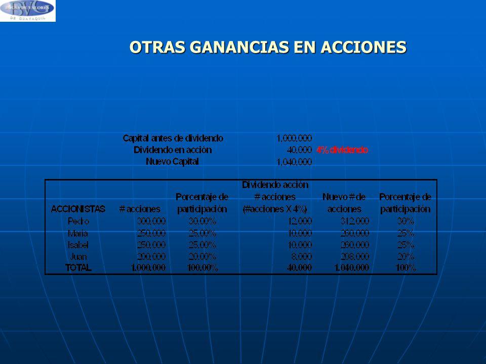 OTRAS GANANCIAS EN ACCIONES
