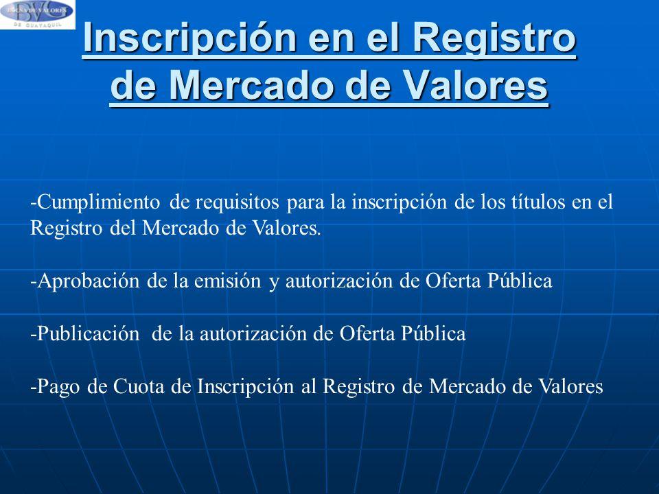 Inscripción en el Registro de Mercado de Valores