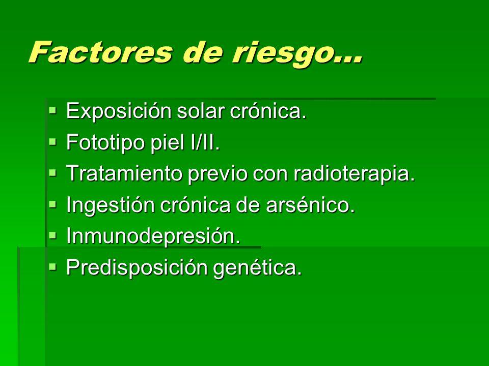 Factores de riesgo… Exposición solar crónica. Fototipo piel I/II.