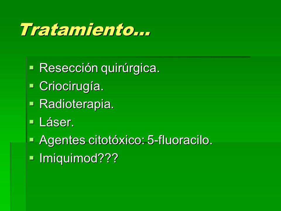 Tratamiento… Resección quirúrgica. Criocirugía. Radioterapia. Láser.