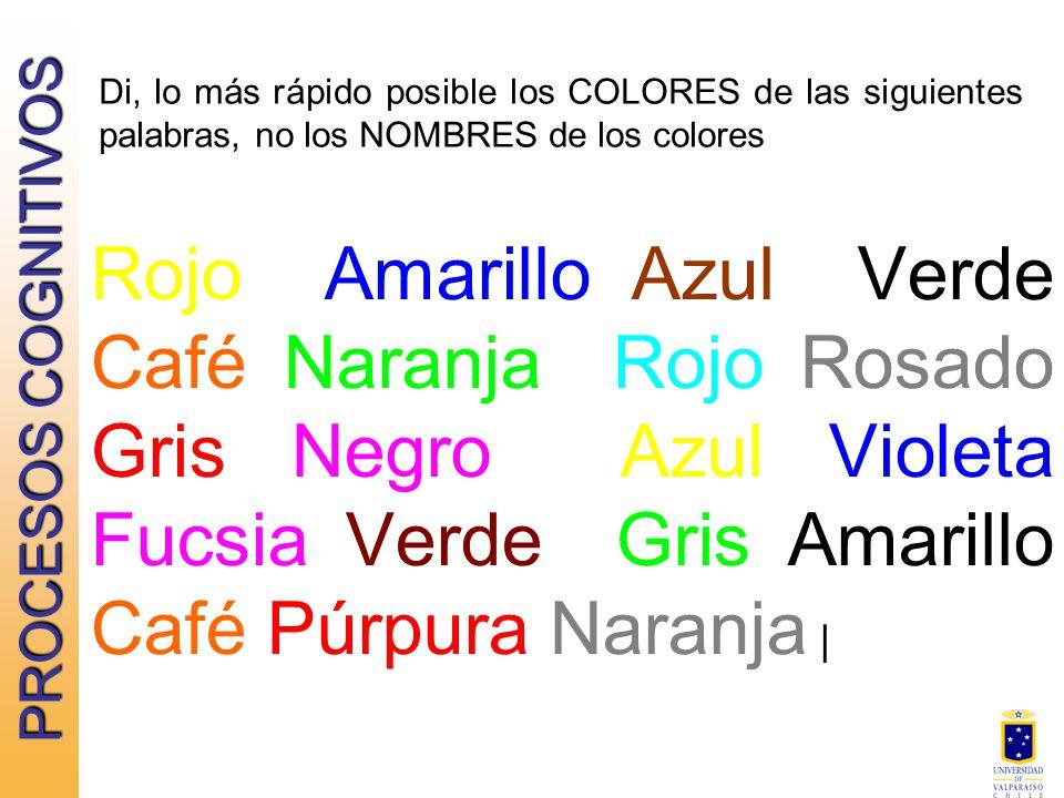Di lo m s r pido posible los colores de las siguientes palabras no los nombres de los colores - Colores para la concentracion ...