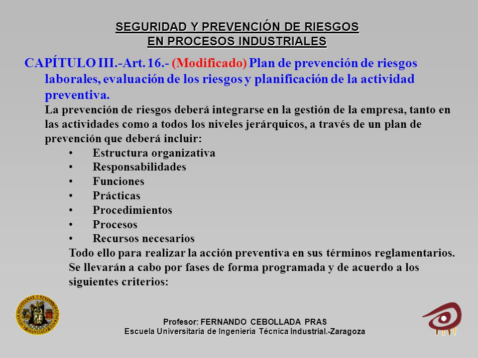 Seguridad y prevenci n de riesgos en procesos industriales for Plan de prevencion de riesgos laborales oficina