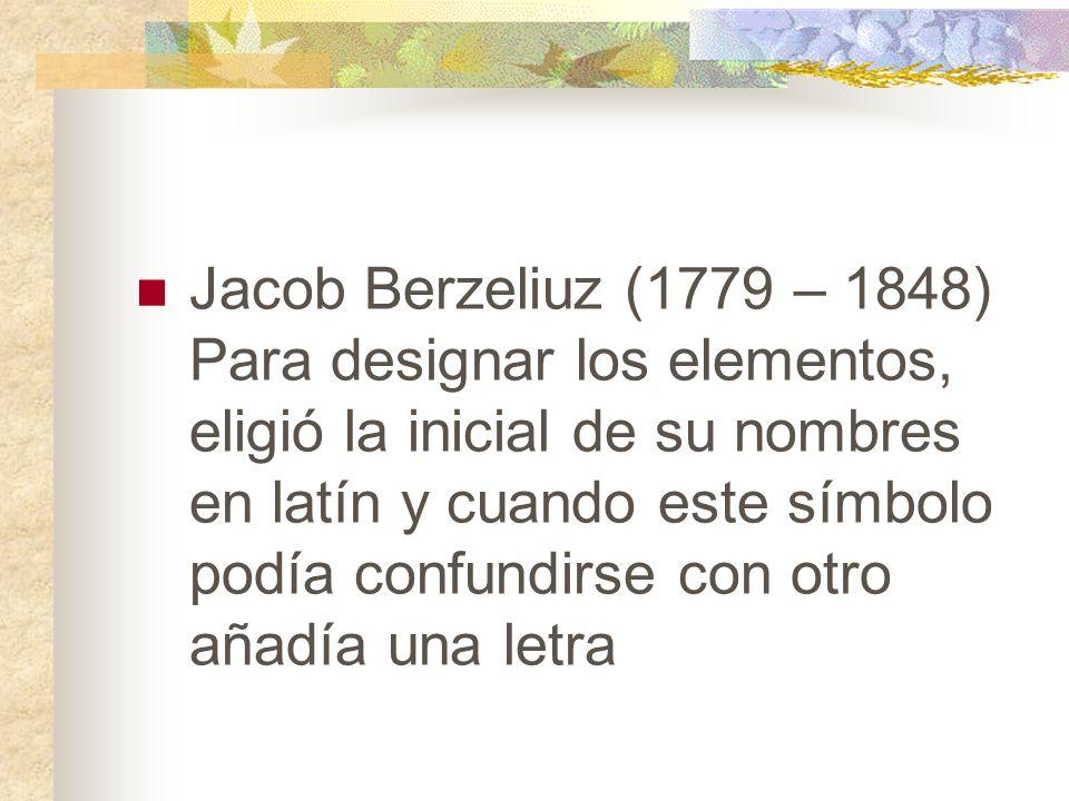 Tabla peridica ppt descargar 4 jacob berzeliuz 1779 1848 para designar los elementos eligi la inicial de su nombres en latn y cuando este smbolo poda confundirse con otro urtaz Images