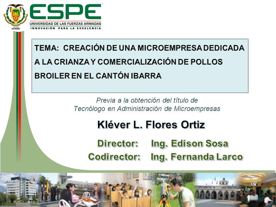 Director: Ing. Edison Sosa Codirector: Ing. Fernanda Larco