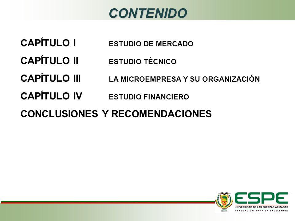 CONTENIDO CAPÍTULO I ESTUDIO DE MERCADO CAPÍTULO II ESTUDIO TÉCNICO