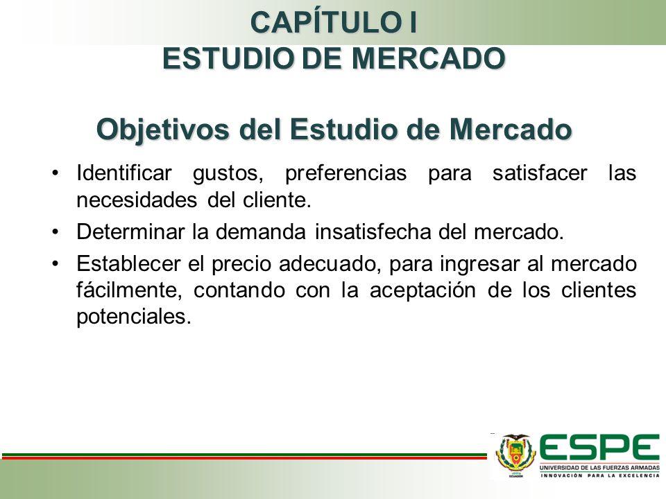 CAPÍTULO I ESTUDIO DE MERCADO Objetivos del Estudio de Mercado