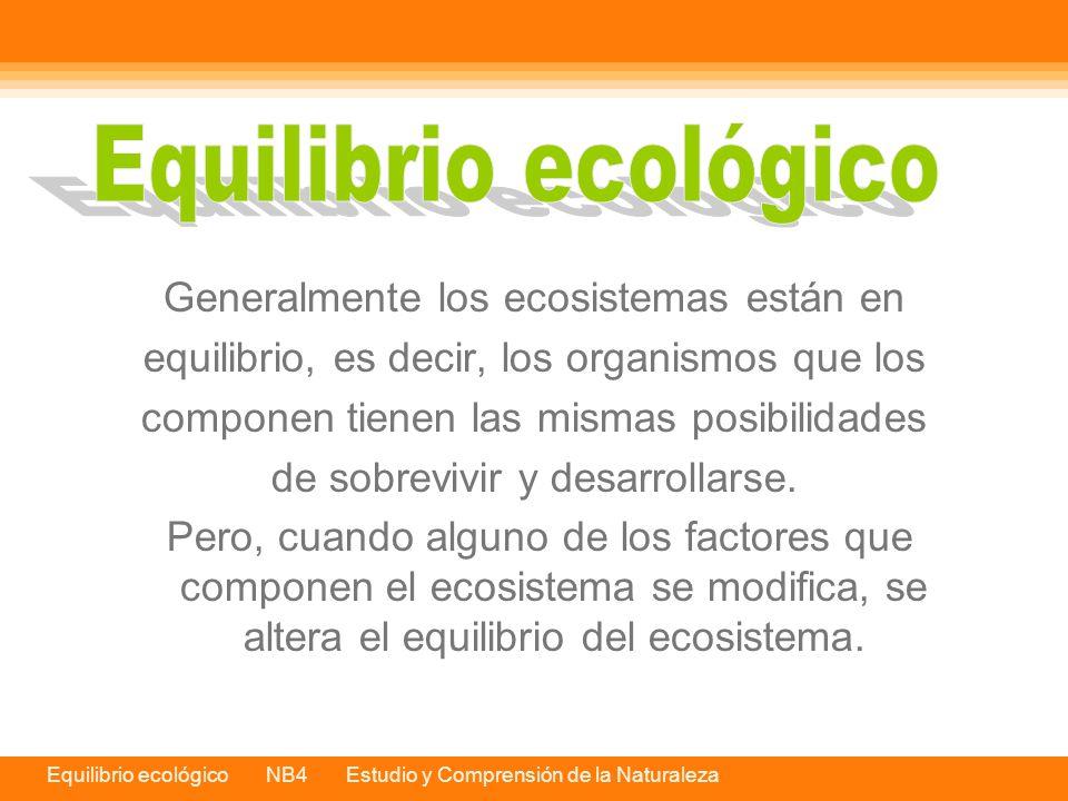 Equilibrio ecológico Generalmente los ecosistemas están en