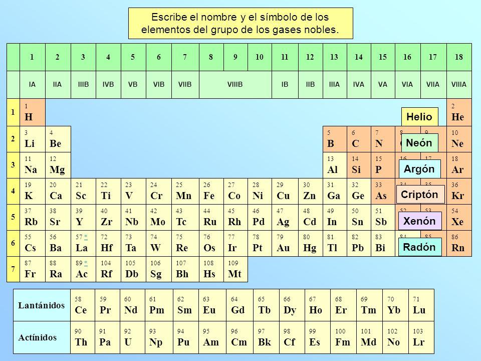 Escribe el nombre y el símbolo de los elementos del grupo de los gases nobles.