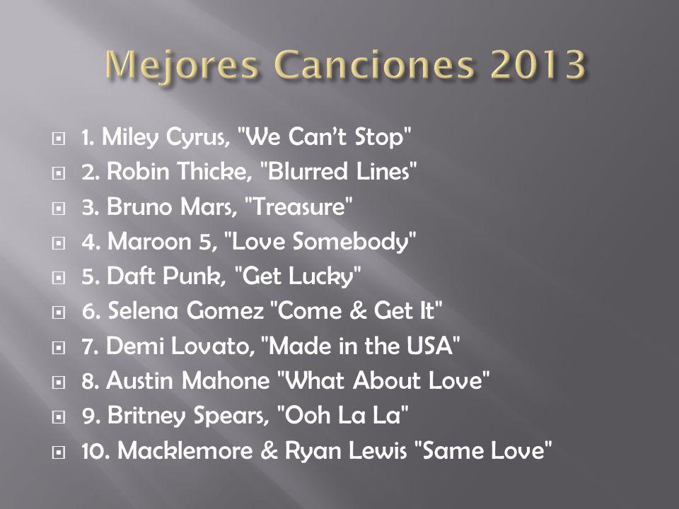 Mejores Canciones 2013 1. Miley Cyrus, We Can't Stop