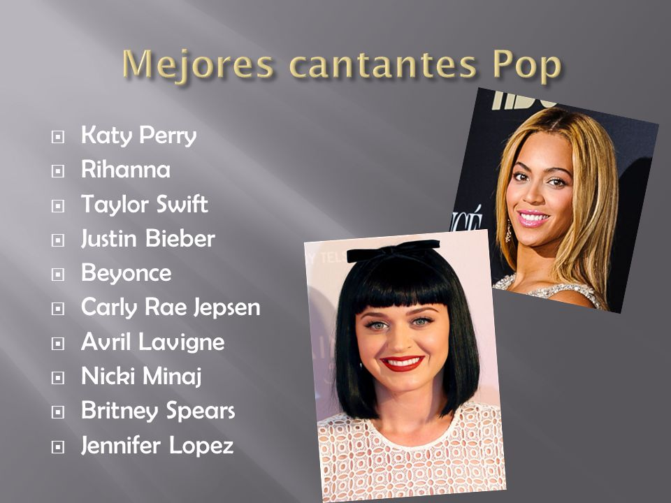 Mejores cantantes Pop Katy Perry Rihanna Taylor Swift Justin Bieber