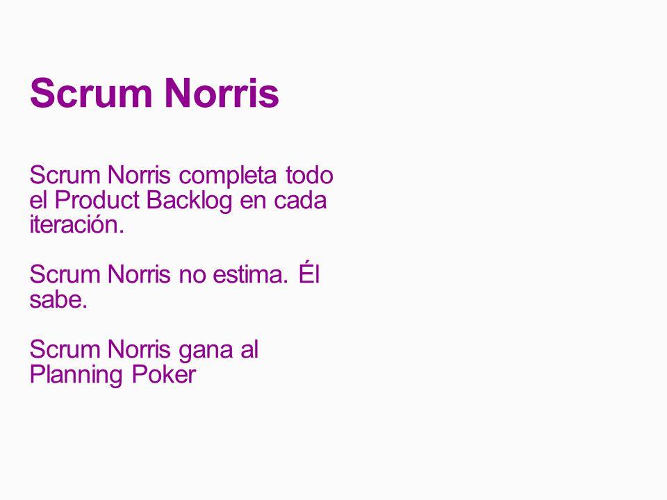 Scrum Norris Scrum Norris completa todo el Product Backlog en cada iteración. Scrum Norris no estima. Él sabe.
