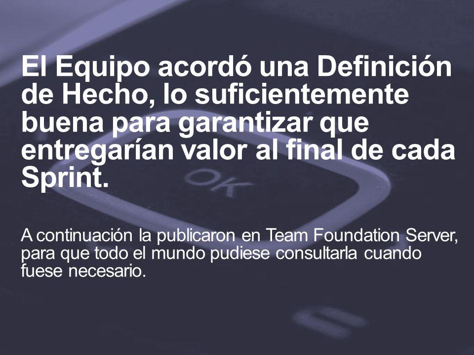 El Equipo acordó una Definición de Hecho, lo suficientemente buena para garantizar que entregarían valor al final de cada Sprint.