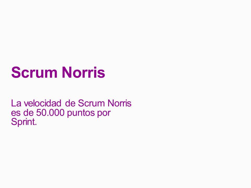Scrum Norris La velocidad de Scrum Norris es de 50.000 puntos por Sprint.