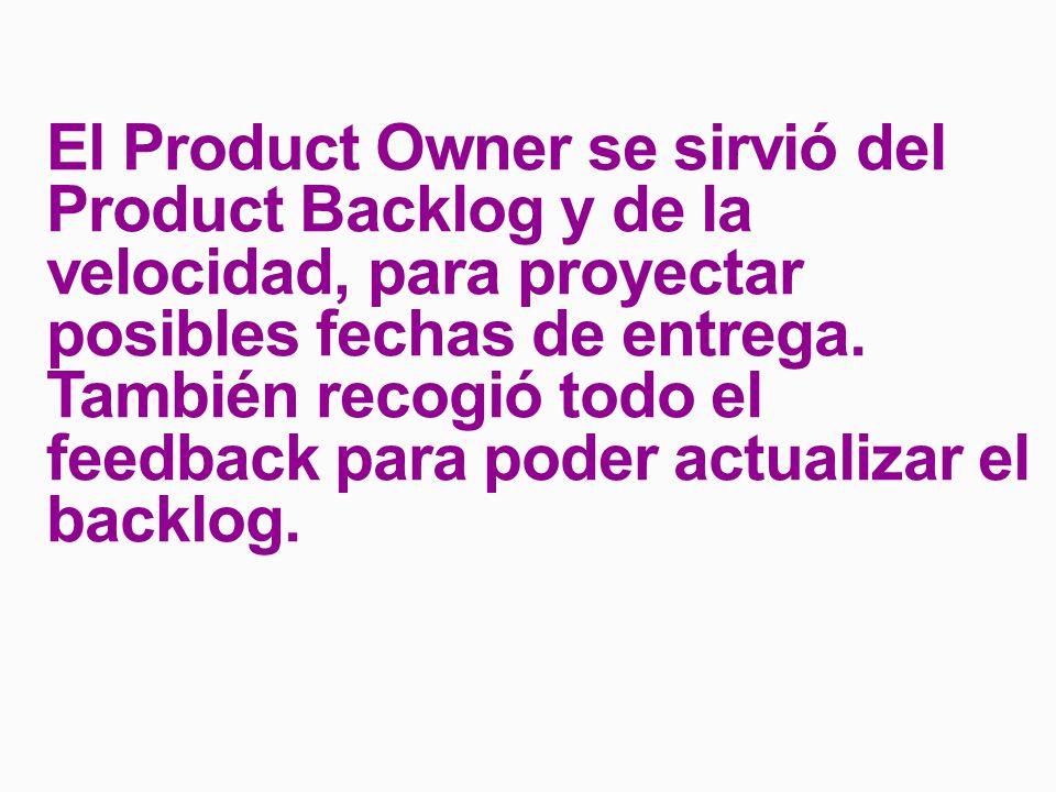 El Product Owner se sirvió del Product Backlog y de la velocidad, para proyectar posibles fechas de entrega.