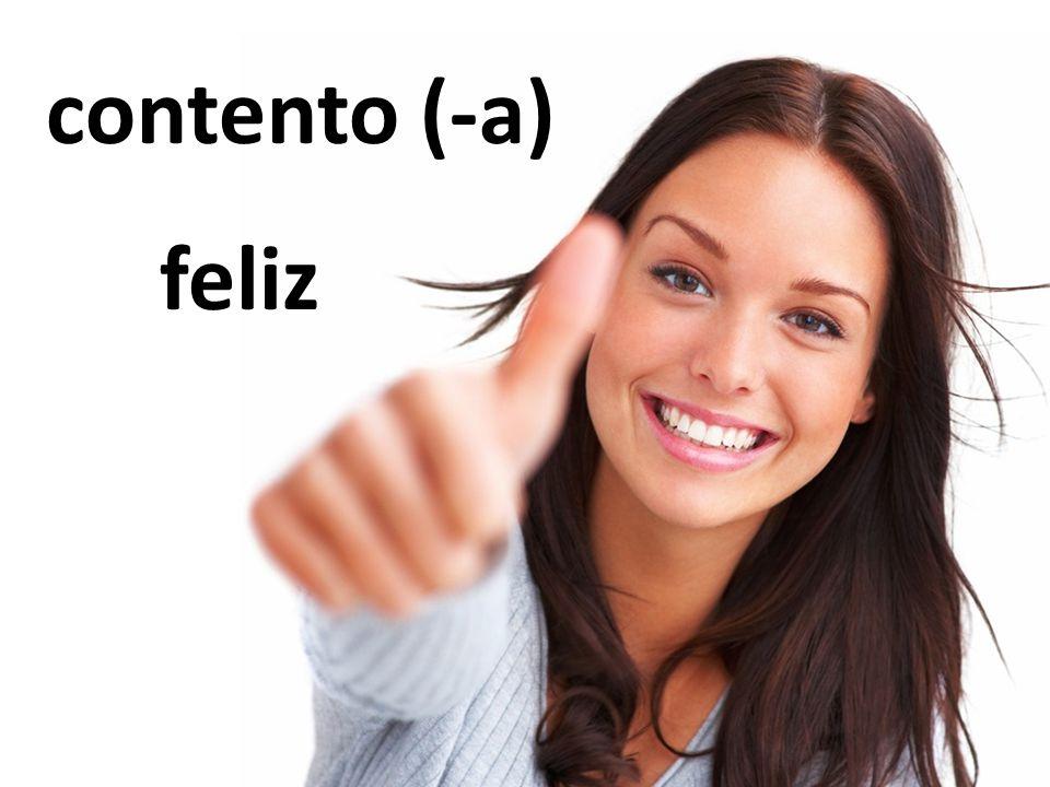contento (-a) feliz