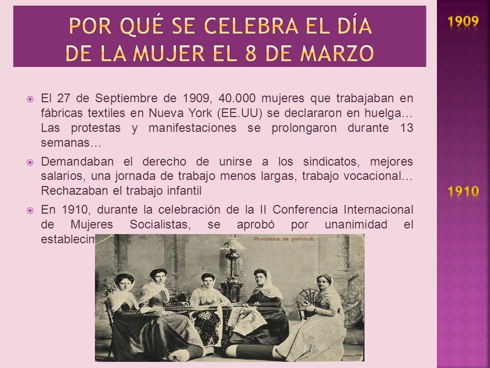 Por qué se celebra el día de la mujer el 8 de marzo