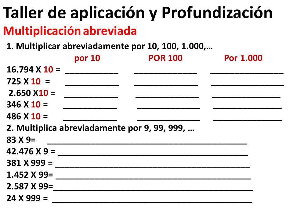 Taller de aplicación y Profundización Multiplicación abreviada