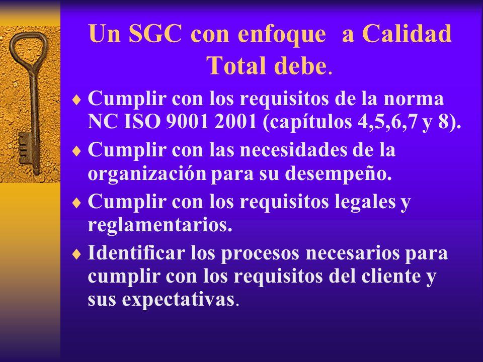 Un SGC con enfoque a Calidad Total debe.