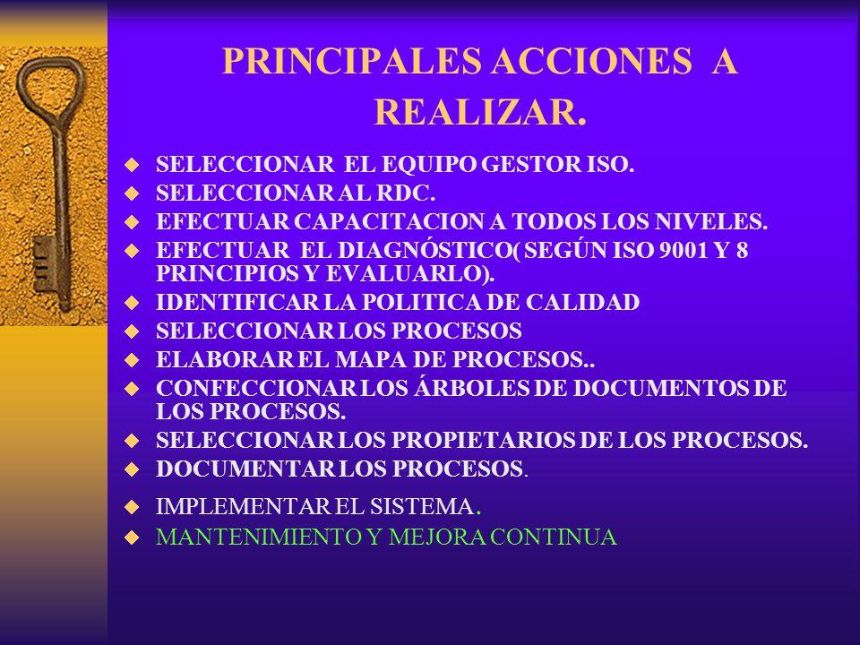 PRINCIPALES ACCIONES A REALIZAR.