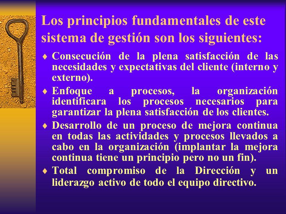 Los principios fundamentales de este sistema de gestión son los siguientes: