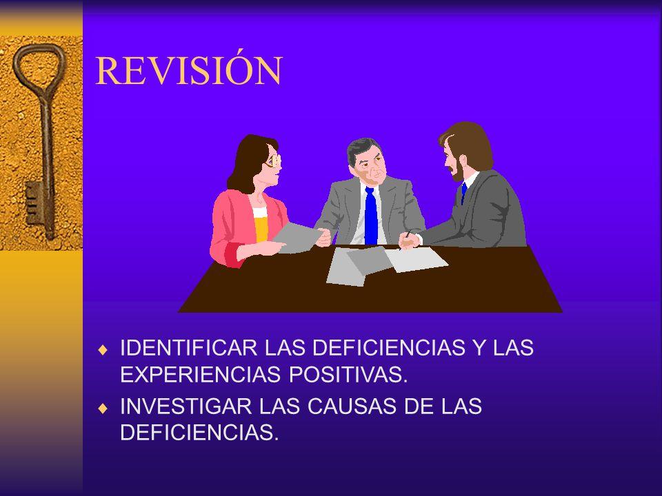 REVISIÓN IDENTIFICAR LAS DEFICIENCIAS Y LAS EXPERIENCIAS POSITIVAS.