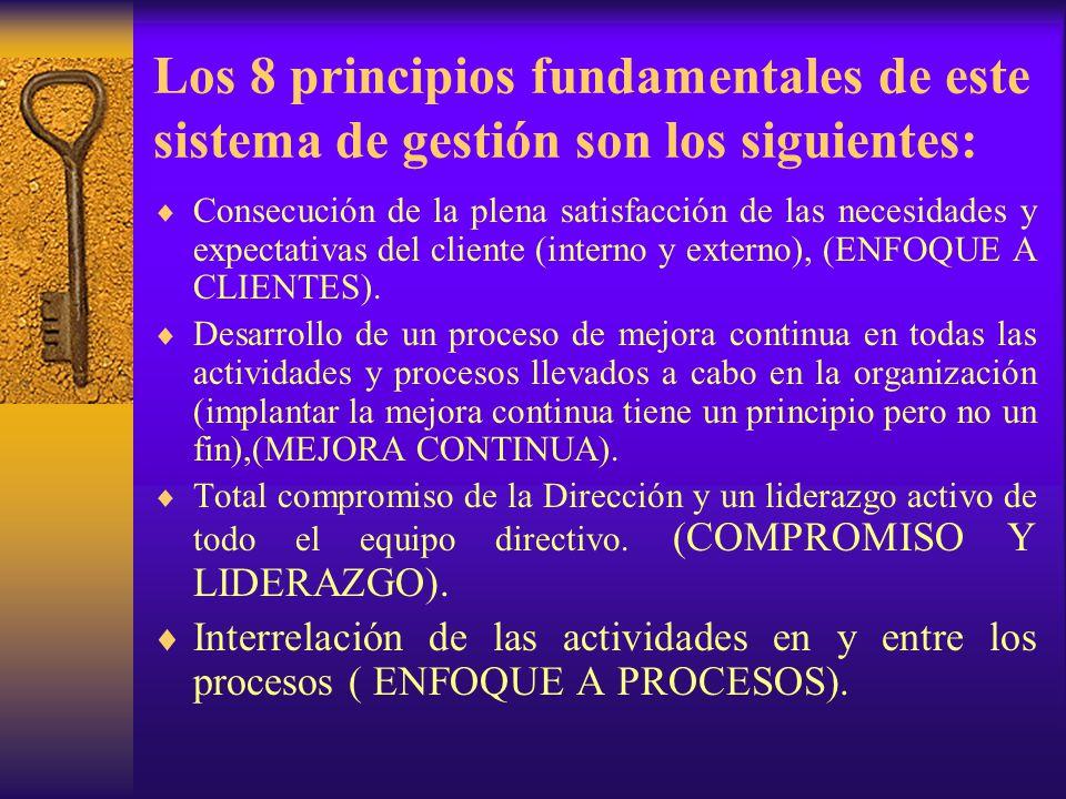 Los 8 principios fundamentales de este sistema de gestión son los siguientes: