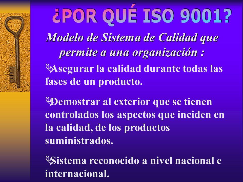 Modelo de Sistema de Calidad que permite a una organización :