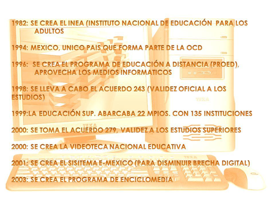 1982: SE CREA EL INEA (INSTITUTO NACIONAL DE EDUCACIÓN PARA LOS