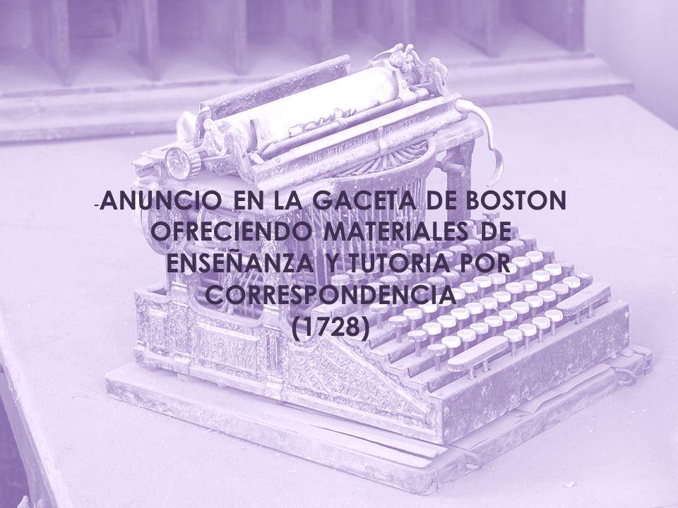 OFRECIENDO MATERIALES DE ENSEÑANZA Y TUTORIA POR CORRESPONDENCIA