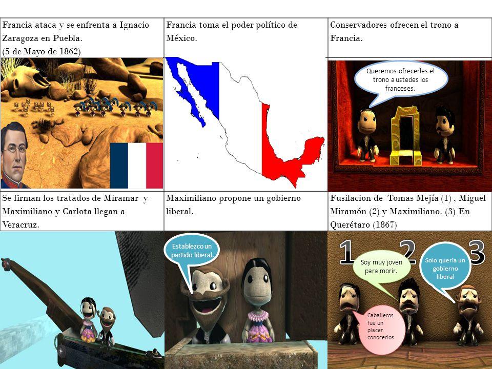 1 2 3 Francia ataca y se enfrenta a Ignacio Zaragoza en Puebla.