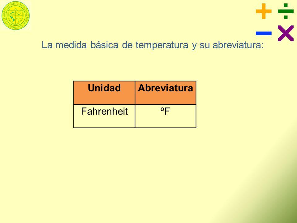 La medida básica de temperatura y su abreviatura: Unidad Abreviatura