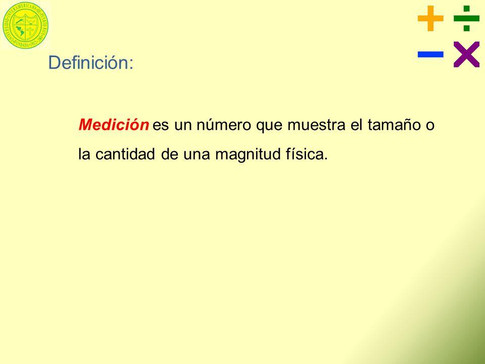 Definición: Medición es un número que muestra el tamaño o la cantidad de una magnitud física.
