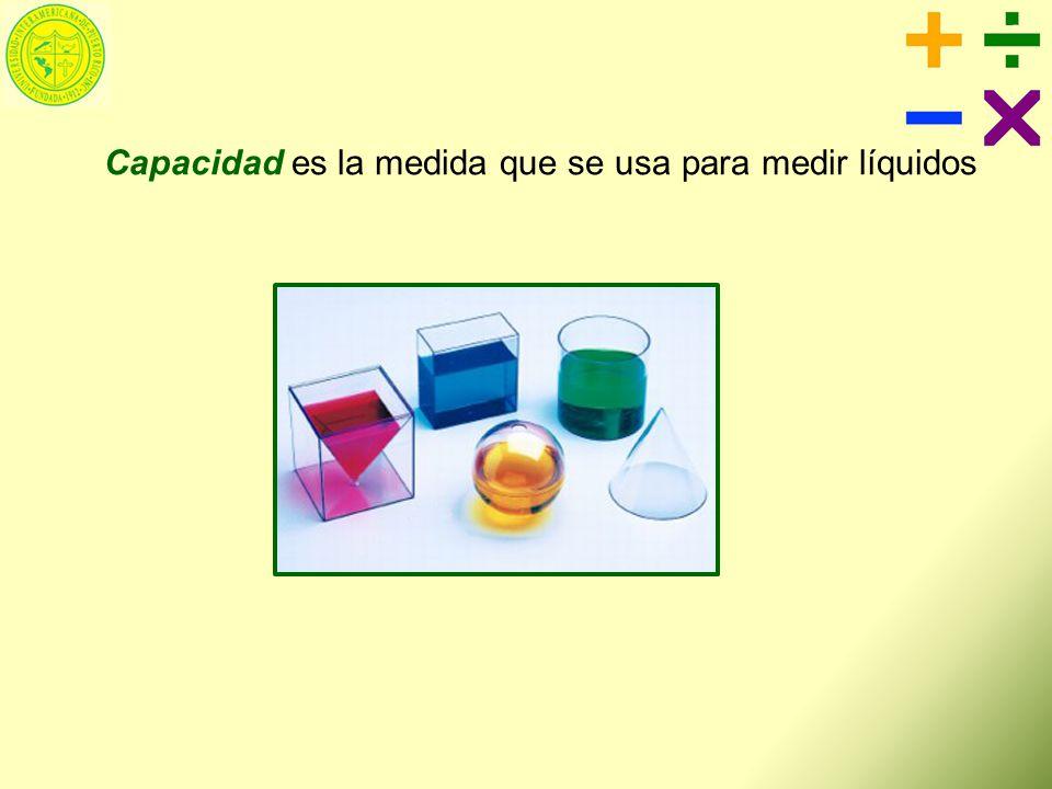 Capacidad es la medida que se usa para medir líquidos
