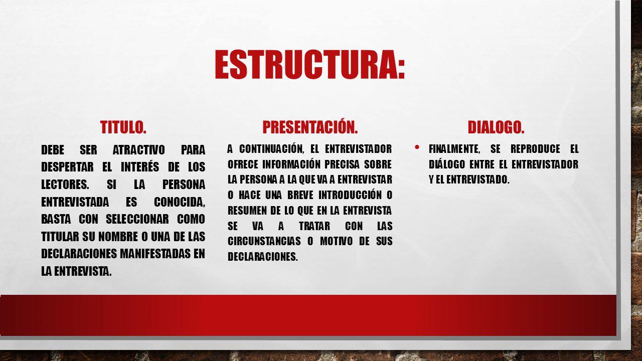Estructura: Titulo. Presentación. Dialogo.