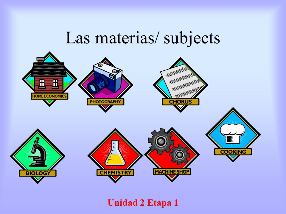 Las materias/ subjects
