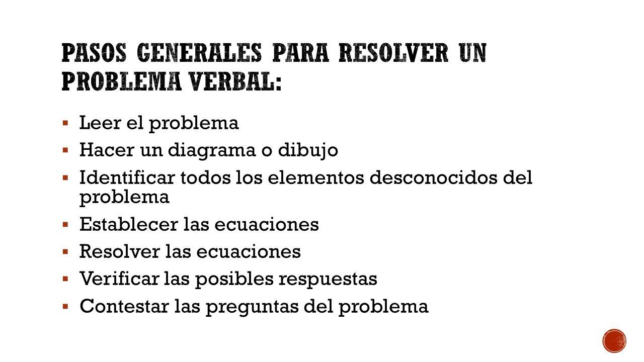 Pasos generales para resolver un problema verbal: