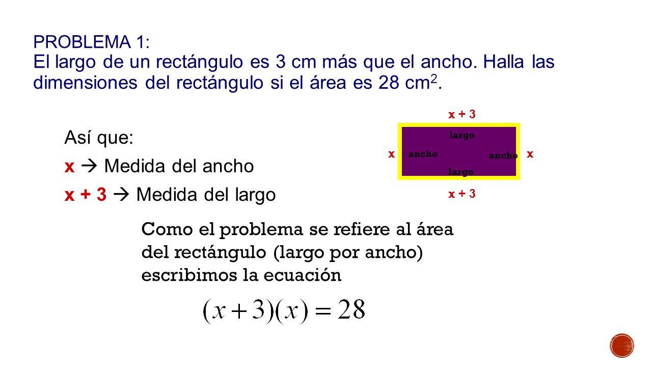 Así que: x  Medida del ancho x + 3  Medida del largo