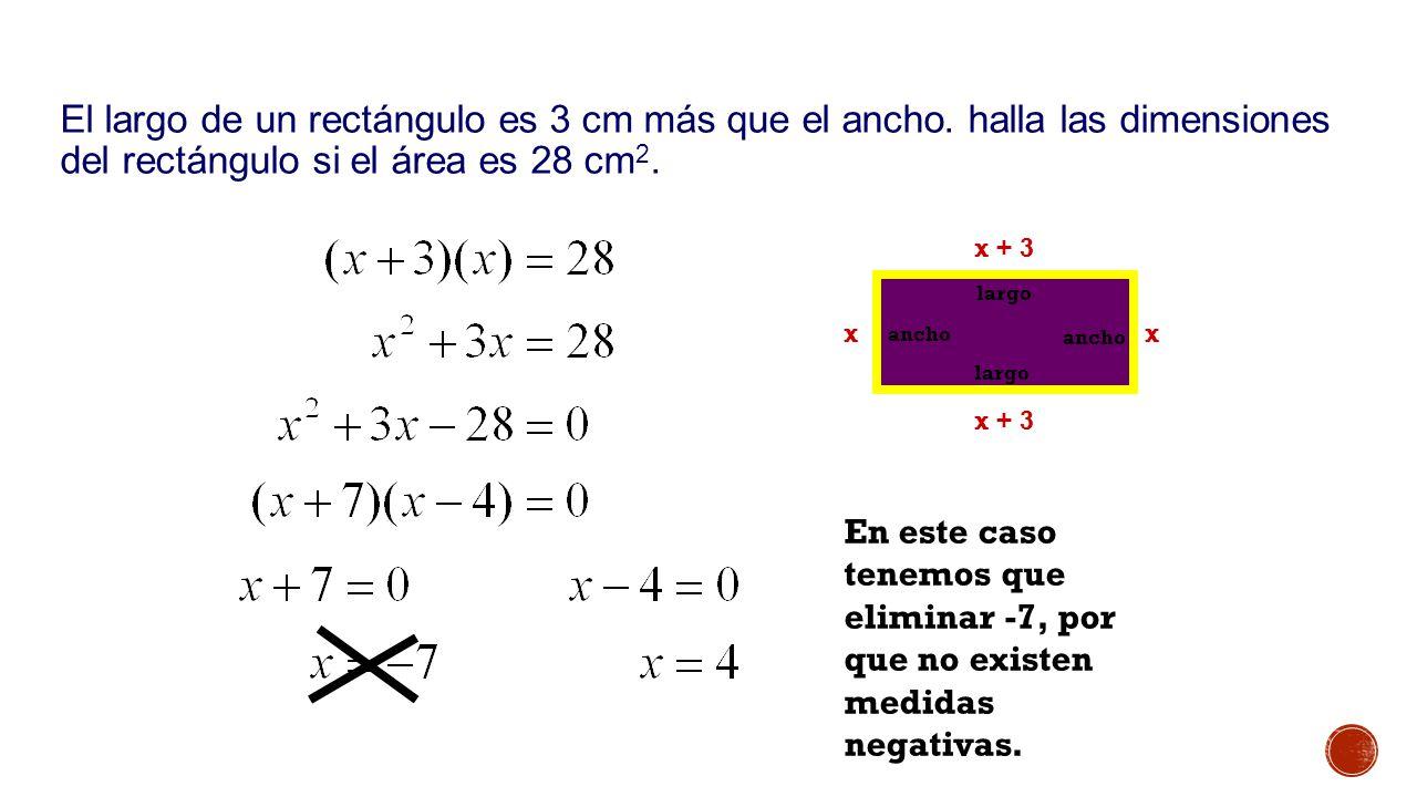 Ejemplo 2: El largo de un rectángulo es 3 cm más que el ancho. halla las dimensiones del rectángulo si el área es 28 cm2.