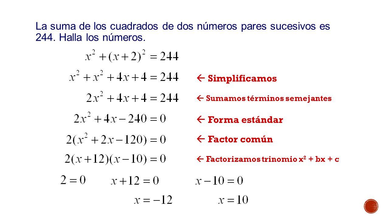 Ejemplo 1: La suma de los cuadrados de dos números pares sucesivos es 244. Halla los números.  Simplificamos.