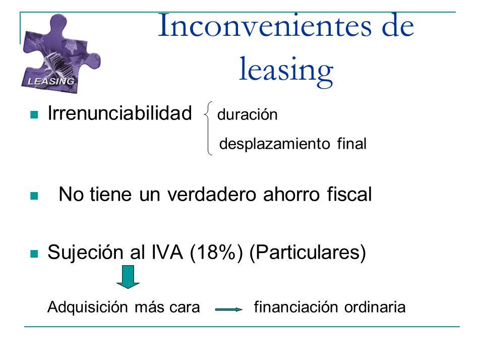 Inconvenientes de leasing