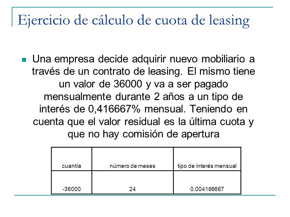 Ejercicio de cálculo de cuota de leasing