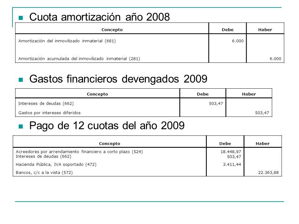 Cuota amortización año 2008
