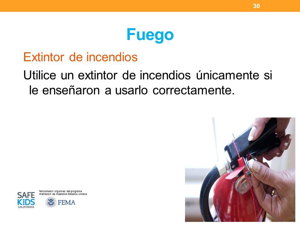 Fuego Extintor de incendios Utilice un extintor de incendios únicamente si le enseñaron a usarlo correctamente.